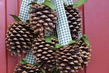 Crafts: Pinecones and branches, trees