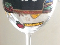 """Teacher Gifts / """"School Is Out For Summer""""...... Teacher gifts for any time.....hand painted teacher wine glasses with their name on a black board giving them """"Time Out"""" to relax and enjoy. These wine glasses are painted with whimsical characters on colors and pencils that seem to have a life of their own. Painted in bright colors with a touch of sparkle these wine glasses make a wonderful end of the year gift"""