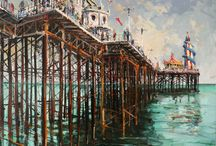 BRIGHTON SCENES / Brighton, Hove, Brighton Pier, South of England, United Kingdom, UK, seaside views, Seascapes, street scenes, Architecture, outdoors painting, plein air painting, oil on canvas, charcoal on canvas, Irish artist, Gerard Byrne, contemporary, Impressionism, impressionist art