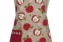 Vintage Aprons / Pretty and cute vintage women's kitchen aprons. An Apple a Day, Choice Wine, Blueberry Basket, Home to Roost, Life's a Hoot, Queen Bee, and More!