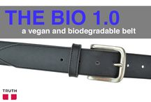The BIO 1.0 Vegan Belt / The BIO 1.0 is first of its kind. Made from a new revolutionary material called 'Bio-D', a biodegradable polyurethane. The top is made out of black 'bio-d', the bottom layer is made of grey 'bio-d', and the middle is made with recycled car tires. The name is branded in big letters on the bottom for the world to see. It's The world's first vegan belt made with biodegradable and recycled car tire materials! Check out the sizing chart before ordering :)  $65.00 www.truthbelts.com / by Truth Belts - Vegan Fashion