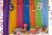 Festa de criança com cortina de tnt