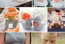 Grijs/oranje bruiloft