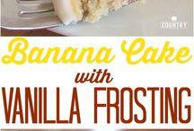 banana cake with vanilla frosting
