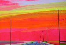 Grant Haffner Landscape Paintings / Sag Harbor based painter, Grant Haffner, is known for his stunning, chromatic scenes of the Hamptons roads and landmarks.  All works are Acrylic and graphite on wooden panel.