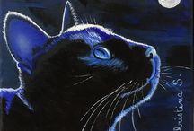 Christina S. / Chat au clair de lune - huile sur toile 20x20 - 11.2017