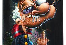 """Popeye - Gilen / """"Brutus sale con""""  peinture acrylique sur skate par Gilen 2016 City of talents"""
