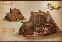 Viking wooden houses