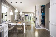 Domy_wnętrza_propozycje aranżacji / Przykładowe aranżacje wybranych pomieszczeń: salonów, kuchni, sypialni, łazienek na podstawie projektów z Kolekcji Murator PROJEKTY