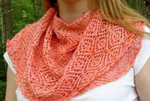 Knitted shawls, scarfs, lace