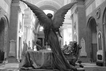Angels wings and sculptures