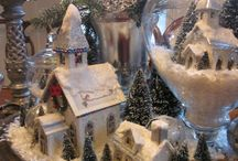 Holiday -- Christmas Village Glitter Putz Houses