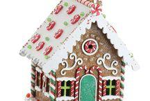 Пряничный дом и проч. рождественский декор стола