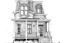 Dibujos de solo casas.