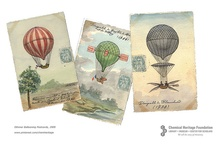 Othmer Ballooning Postcards / This collection of hand-painted postcards featuring balloons and dirigibles illustrates the progression of aeronautics from 1670 to 1909. Chemical engineer Donald Othmer and his wife, Mildred, originally collected these postcards during their travels to France. Follow our board to learn more about chemistry's role in flight, and please repin these rare images to share!