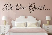 "Be Our Guest ""Wall Art"" by Happi Home / Wall Art by Happi Home. Purchase yours today!  Visit:  https://happihome.com.au/store/#!/BE-OUR-GUEST/p/73496449/category=20476860 Measures approximately:  940mm x 205mm Available Colours:  Black, White, Red & Turquoise  Made with Premium Cast Avery Wall Vinyl. Comes with easy to follow step by step instructions. Application tape applied to allow for easy installation."
