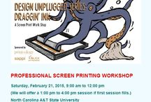 2/21/15 Professional Screen Printing Workshop / It's time to step away from your computers and get your hands dirty. Our workshop is fun for everyone — whether you are an old pro or a curious beginner — join us as we explore this versatile printing technique.  You will learn how designs are transferred to the screens, and how the screens are used to transfer your designs to paper, t-shirts, or bags. You get the picture. This is why screen printing is so much fun! You will get a one-of-a-kind poster that you created to take home.