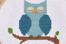 Owls / cross stitch/felt etc