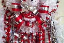 Homecoming Mums / While visiting a TX Homecoming football game, I noticed the huge & elaborate ribbons some of the students were wearing. Later I found out that they are called homecoming mums and garters. The boys give their girlfriends mums and the girls give their boyfriends garters.  / by Southern Charm Wreaths