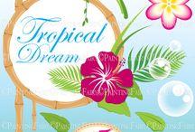 Tropical / Tropical Dream, Hawaiian wedding summer time in Hawaii, Sweet Holiday, Hawaiian baby shower, Fun clipart,