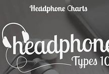Different Types of Headphones (Infograph) / Looking to learn about the different types of headphones? In this blog/infographic we will offer you a basic understanding of headphones, discussing the definition of headphones, and the history of headphones. You'll also learn about the differences between headphone types: In-Ear vs. On-Ear, On-Ear vs. Over-Ear, and In-Ear vs. Over-Ear. Lastly, gain some knowledge about the differences between closed-back headphones vs. open-back headphones! -HeadphoneCharts.com