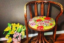 """Fabric Cover"" fresh up vintage chair"