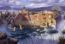 Dinotopia / Art from the illustrated books a land where humans and dinosaurs have formed a civilization together.