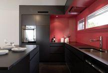 cozinhas pintadas de vermelho