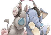 kreslene zvieratka spolu