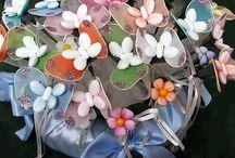 fiori con calze e confetti