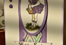 Easter Cards / Easter cards created with stamping, colored pencils, embossing and embellishing.
