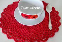 Susplats de crochê - my creation / Peças criadas por Tecendo Artes