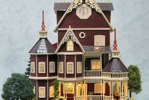 """Quarter Scale Miniature Dollhouse -  The Ashlyn Gothic Victorian Mansion / The Ashlyn measures 11""""W x 6.5""""D x 14.5""""H, with nine rooms. All rooms in the quarter scale Ashlyn Mansion are wallpapered, have some type of floor covering, are completely furnished, & have lights in every room."""