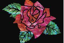"Rose / inlay sticker ""Rose"" guitar/ukulele decals"