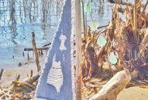 My driftwood art. Driftwood, sailboats, seaglass