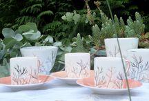 Garance porcelaine Limoges corail / porcelaine de limoges peinte à la main