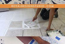 Tile stencil floor