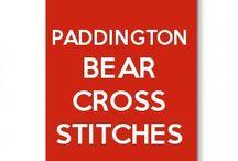 Paddington bear cross stitches