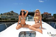 "Boat shoot ⚓️ for the ""Bohemian Goddess"" collection / Shooting the Bohemian Goddess collection from La Vida Swimwear on a luxurious Sea Ray ⚓️ with photographer Guy Tadman and filmed by 360 films. Keep an eye out for the 360 degree film and more images at www.lavidaswimwear.com"