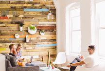 再生木材の壁
