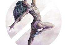 Aquarelle Ballerina / Aquarelle Ballerina is a series made with aquarelle and Polychromos pencils.  Ballerinas are delicate and strong at the same time. It was fun to refine the muscles. The lightness is supported with the help of aquarelle while the contrast is supported with Polychromos. With the graphic element in the background I wanted to underline the movement of the ballerina.