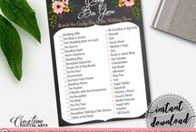 Bridal Shower Products in Chalkboard Flowers Theme, Invitations, Games, Decorations And More / Hi, thank you for visiting this beautiful bridal shower board with products in Chalkboard Flowers theme. Here, you'll find different invitations, games and activities, decorations and more with over 60 products in this theme.