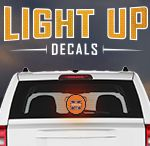Light Up Decals / Show off your school spirit or team pride in glowing fashion!  Just peel, stick and go.  Light Up Decals turn on by themselves when they sense motion and darkness.