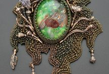 2, Necklaces, Bead Embroidery