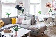 Stue rosa og gul