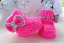 Knitted baby booties or shoes