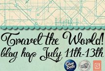 Traveling Glue Dots / It's a blog hop with Lindy's Stamp Gang, Glue Dots and Basic Grey! Learn new techniques and get inspired with our travel themed blog hop, perfect for your summer vacation!