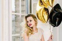 Foil Big Balloons / Отличная идея для подарка на день рождения девушке - букет из шаров | Золотые и черные фольгированные звезды | Пучок из шаров | Big black gold star foil balloon