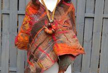 Autumn colors / moda damska, fashion women,felted scarf, nuno felted #felted #handmade #fashion #autumn #design #textileart #wearable