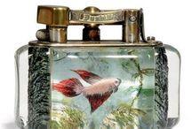 Dunhill Aquarium Lighters / Aquarien Feuerzeuge von Dunhill. Angefertigt ab ca. 1950